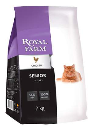 Сухой корм для кошек ROYAL FARM Senior, для пожилых, курица, 2кг