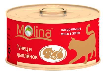 Консервы для кошек Molina, с тунцом и цыпленком в желе, 12шт по 80г