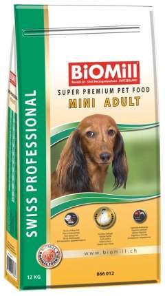 Сухой корм для собак BIOMILL Swiss Professional Mini Adult, курица, 12кг