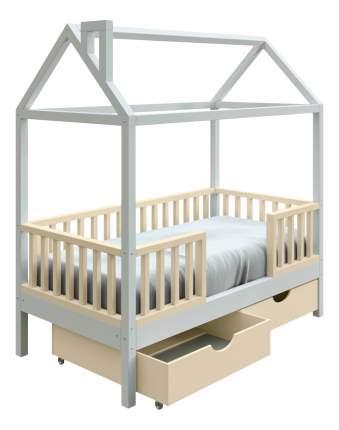 Кровать-домик Трурум KidS Сказка узкий бортик, ящики сливочно-белая