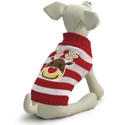 Свитер для собак Triol размер L унисекс, красный, белый, длина спины 35 см