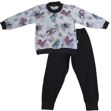 Пижама детская Папитто, цв. серый; черный р.104