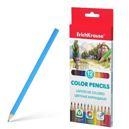 Цветные карандаши ErichKrause трехгранные 12 цветов