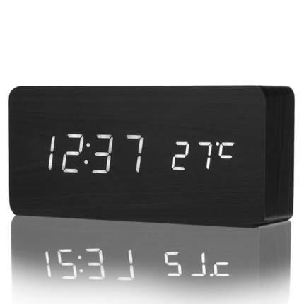 Деревянные настольные LED часы с термометром SLT-6035 (чёрный корпус, белые символы)