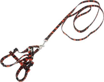 Комплект Каскад Поводок и шлейка нейлон тигровый для кошек 120см + 15 ммx20/40см, Тигровый
