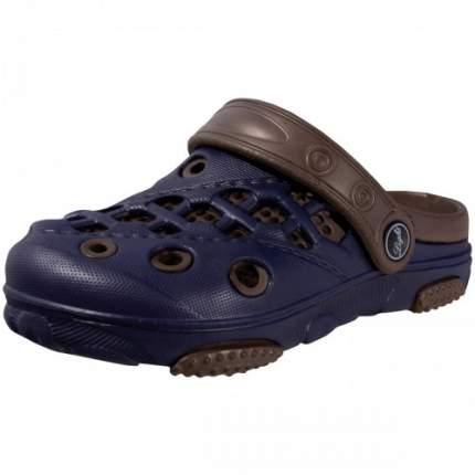 Шлепанцы детские LIGHT резиновые сине-коричневые, размер 34