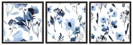 """Коллекция картин в раме 90x30 см """"Синие цветы"""" Ekoramka BE-110-108"""