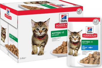 Влажный корм для котят Hill's Science Plan Kitten, океаническая рыба, 12шт по 85г