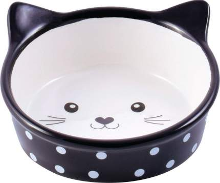 Миска для кошек КерамикАрт Мордочка кошек, керамическая, черная в горошек, 250мл