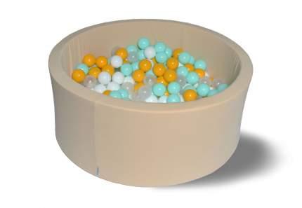 Сухой игровой бассейн Ванильная дискотека 40см с 200 шарами: белый, прозр, мятный, желтый