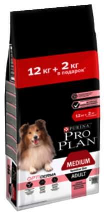 Сухой корм для собак PRO PLAN OptiDerma Medium Adult, для средних пород, лосось, рис, 14кг