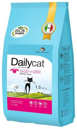 Сухой корм для кошек Dailycat Adult, ягненок и рис, 1,5кг
