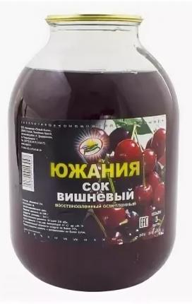 Сок вишневый Южания восстановленный осветленный  3 л