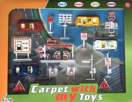 Игровой набор Дорожный с ковриком и машинками FUN TOY