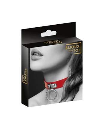 Чокер Bijoux Indiscrets Collier Fetish Rouge с кольцом красный