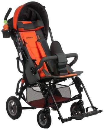 Кресло-коляска Meyra Optimus для детей ДЦП оранжевый-серый цельнолитые