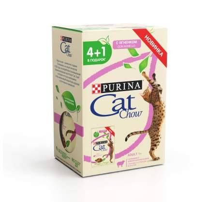 Влажный корм для кошек Cat Chow, ягненок и зеленая фасоль, 85 г, 4+1 шт