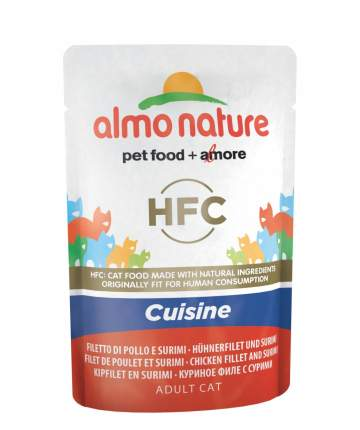 Влажный корм для кошек Almo Nature HFC Cuisine, куриное филе и крабовые палочки, 55г