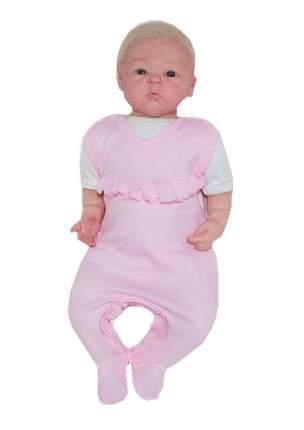 Ползунки детские Осьминожка с рюшей для девочки с кнопками в шагу цв. розовый р.56