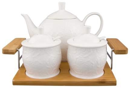 Набор столовой посуды Elan Gallery Белые розы Чайник + Сахарница + Банка для варенья
