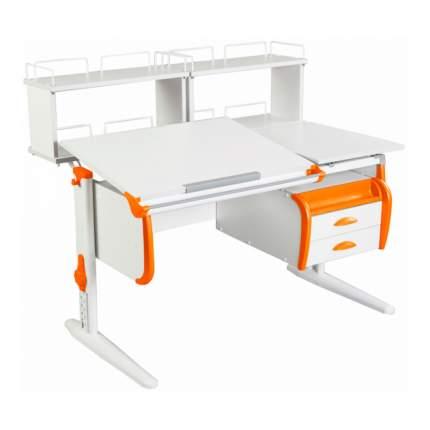Парта Дэми СУТ-25-04Д2 WHITE DOUBLE со столешницей, приставками белый, оранжевый, белый
