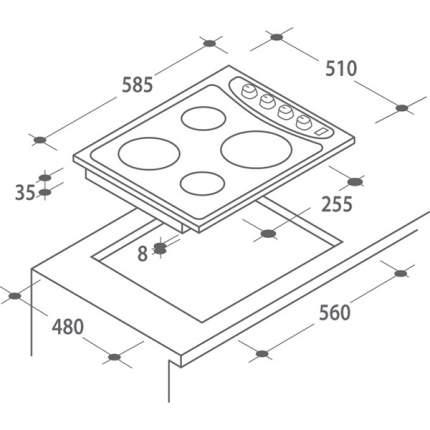 Встраиваемая варочная панель электрическая Candy PLE 64 N Black