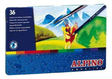 Цветные шестигранные акварельные карандаши Alpino AQUALINE 36 цветов Alpino (Альпино)