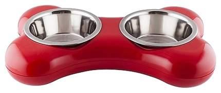 Двойная миска для кошек и собак Hing, пластик, сталь, красный, серебристый, 2 шт по 0.25 л