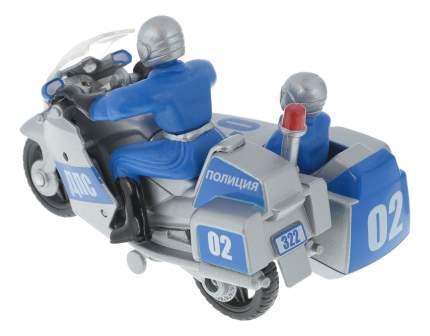Мотоцикл металлический 10 см с коляской с фигурками Технопарк