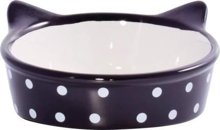 Миска для кошек КерамикАрт Мордочка кошки, керамическая, черная в горошек, 250мл