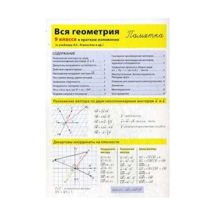 Вся Геометрия 9 класса В кратком Изложени и памятка