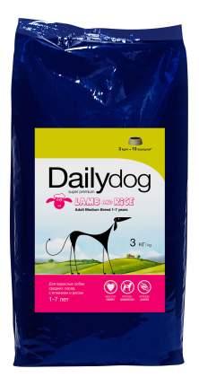 Сухой корм для собак Dailydog Adult Medium Breed, для средних пород, ягненок и рис, 3кг