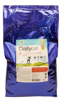 Сухой корм для кошек Dailycat Adult, индейка и рис, 10кг