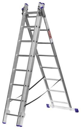Лестница Зубр универсальная, трехсекционная со стабилизатором, 8 ступеней