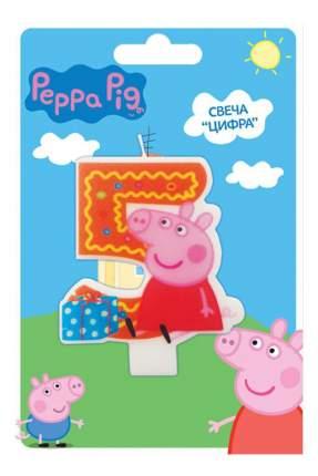 Свеча для торта Peppa Pig цифра 5