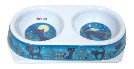 Двойная миска для кошек DEZZIE, пластик, белый, синий, 2 шт по 0.18 л