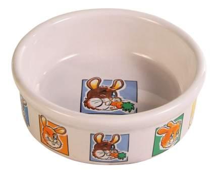 Одинарная миска для грызунов TRIXIE, керамика, белый с рисунком, 0.3 л