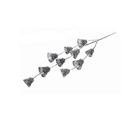 Декоративная ветка Искрящиеся Колокольчики серебряные 42 см 403132