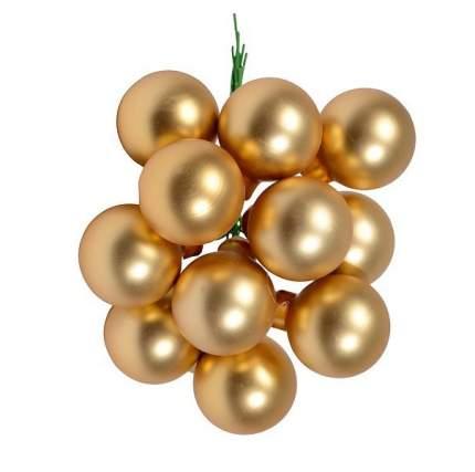 Гроздь стеклянных шаров Kaemingk на проволоке 25 мм золотой матовый, 12 шт 710556