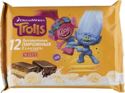 Пирожное бисквитное dreamworks Trolls банановый десерт 12 штук