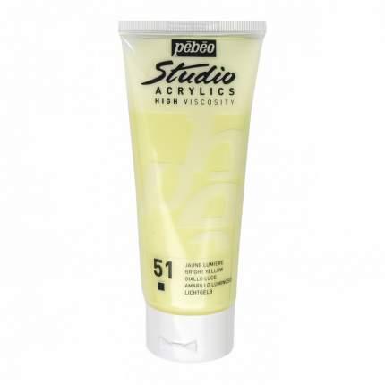 Акриловая краска Pebeo Studio Acrylics 831-051 светло-желтый 100 мл