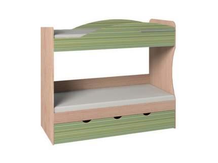 Двухъярусная кровать Глазов дуб отбеленый, зеленая радуга