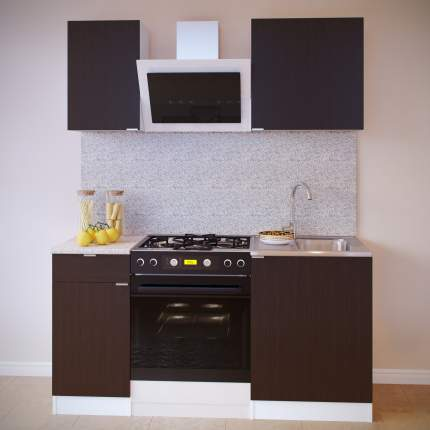 Прямой кухонный гарнитур Сокол ПН-04+ТК-04.1+ПН-06+ТК-06м Белый / Венге