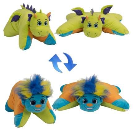 Мягкие игрушки-подушки 1TOY Т12044 2 в 1 вывернушка разноцветный тролль салатовый дракон