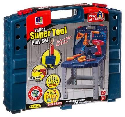Набор строительных инструментов, с раскладывающимся ящиком и работающей дрелью