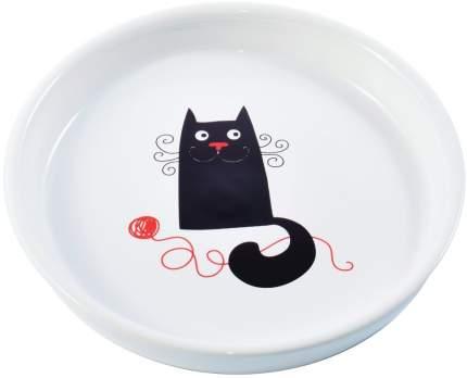 Миска для кошек КерамикАрт, керамическая, белая с кошкой, 210мл