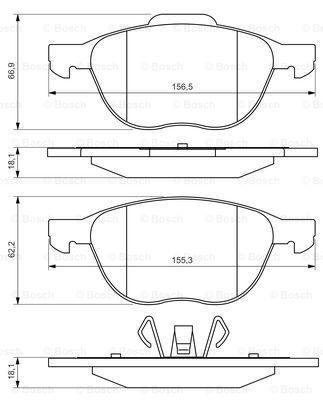 Комплект тормозных колодок Bosch 0986495215