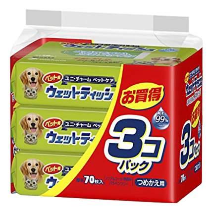 Салфетки для чистки лап UNICHARM для домашних животных, мягкая упаковка 70 шт