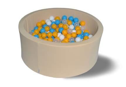 Сухой игровой бассейн Жемчужная дискотека 40см с 200 шарами: голубой, желтый, белый, прозр