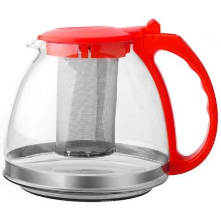 Чайник заварочный стекл 1,3л с фильтром красн TM Appetite
